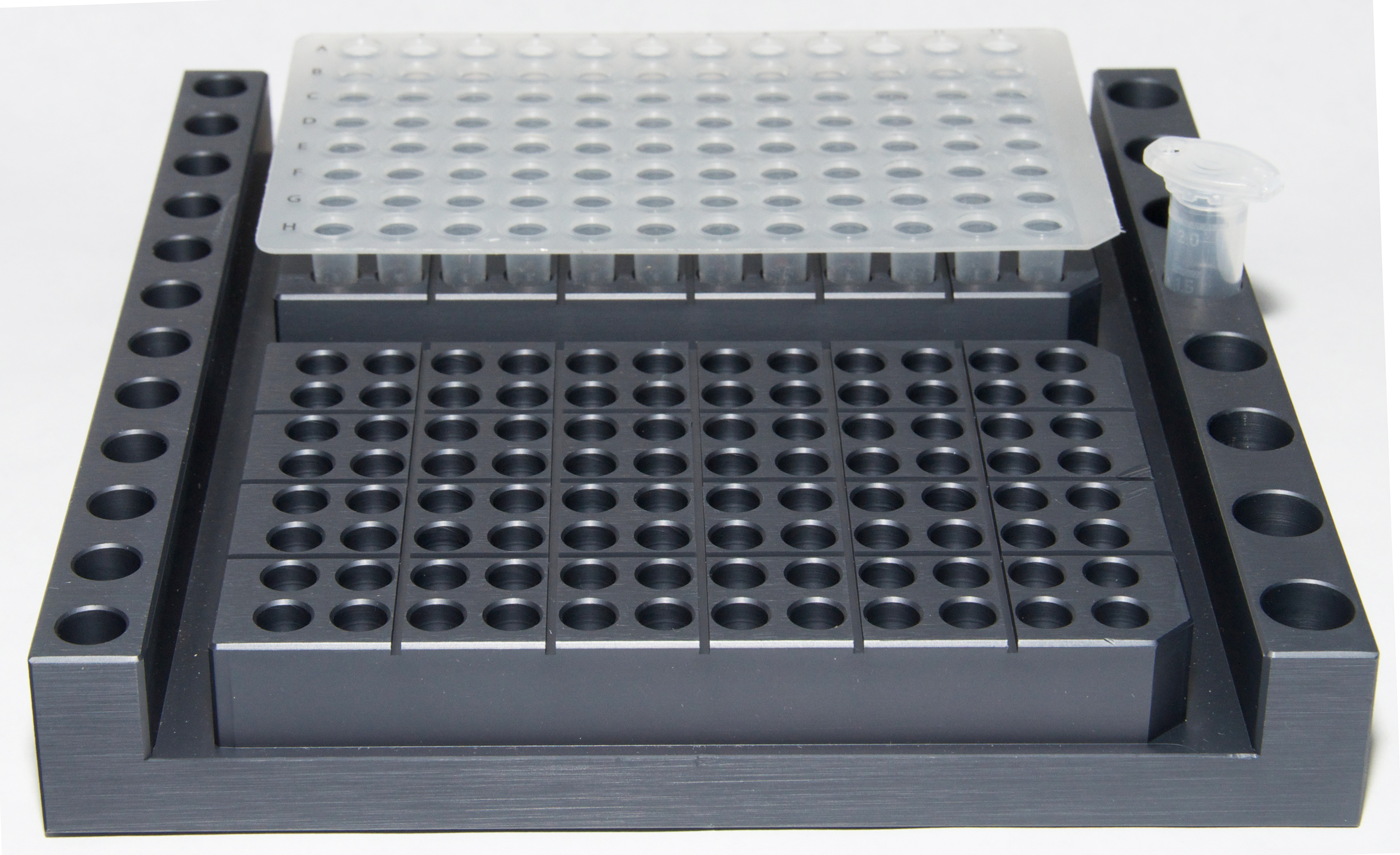 PCR tube rack for 2 x 96 well PCR tray and tubes